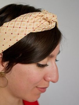 Headband jaune à point rouge Ylle