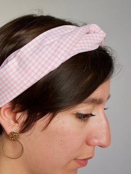 Headband rose clair à carreaux Ylle