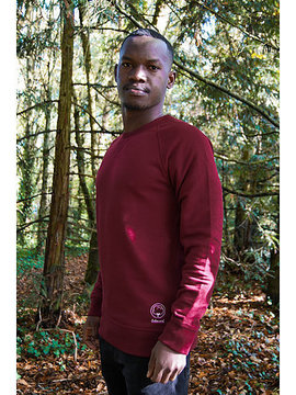 Sweat mixte bordeaux brodé en coton bio Coton vert