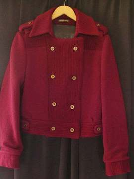 "Manteau bordeaux graphique ""Winter plu Clemie'n'Roses"