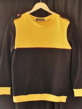 "Sweat ""Sweet mustard"" noir et moutarde Clemie'n'Roses"