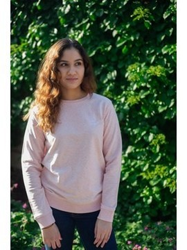 Sweat mixte rose chiné brodé en coton  Coton vert