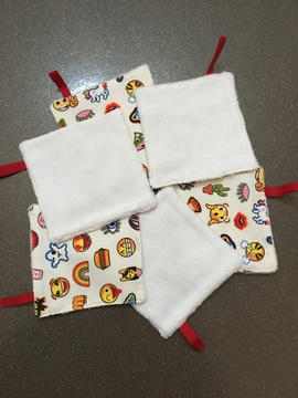 Lingettes coton emoticones lot de 6 Fait main