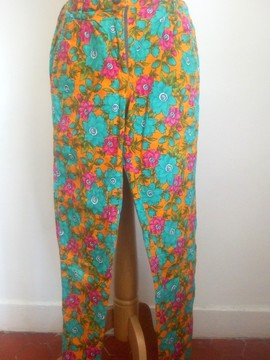 Pantalon fleuri orange Deneth DENETH
