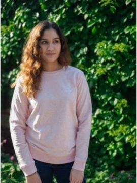 Sweat mixte rose chiné sans broderie Coton vert