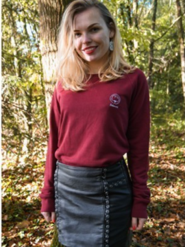 Sweat mixte bordeaux sans broderie Coton vert