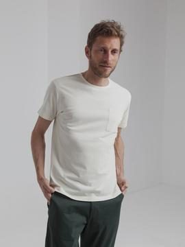 T-Shirt Thinking Mu Pocket blanc crème Thinking Mu