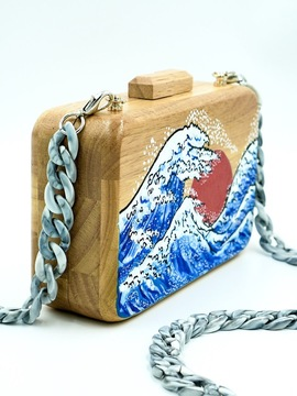GREAT WAVE Large Wooden Clutch Woodo