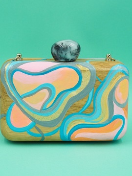 ABSTRACT ART Wooden Clutch Woodo