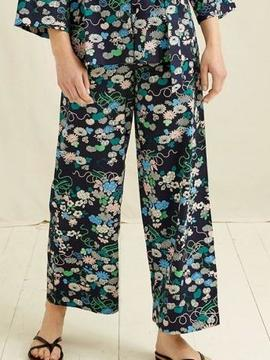 V&A FLORAL PRINT TROUSERS NAVY People Tree